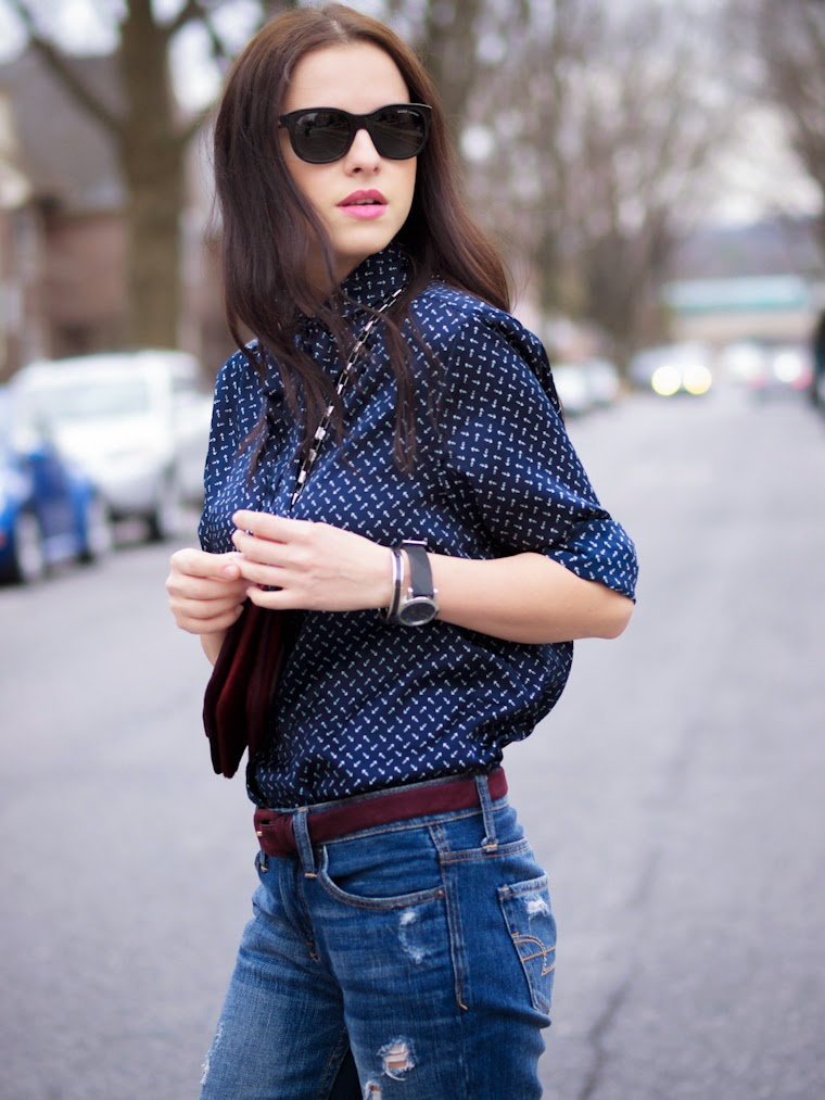 American Eagle, bittersweet colours, bow shirt, boyfriend jeans, BURBERRY, Hermes, navy, pierre hardy, pink shoes, PINK TREND, Spring, Spring trends, street style, Topshop,