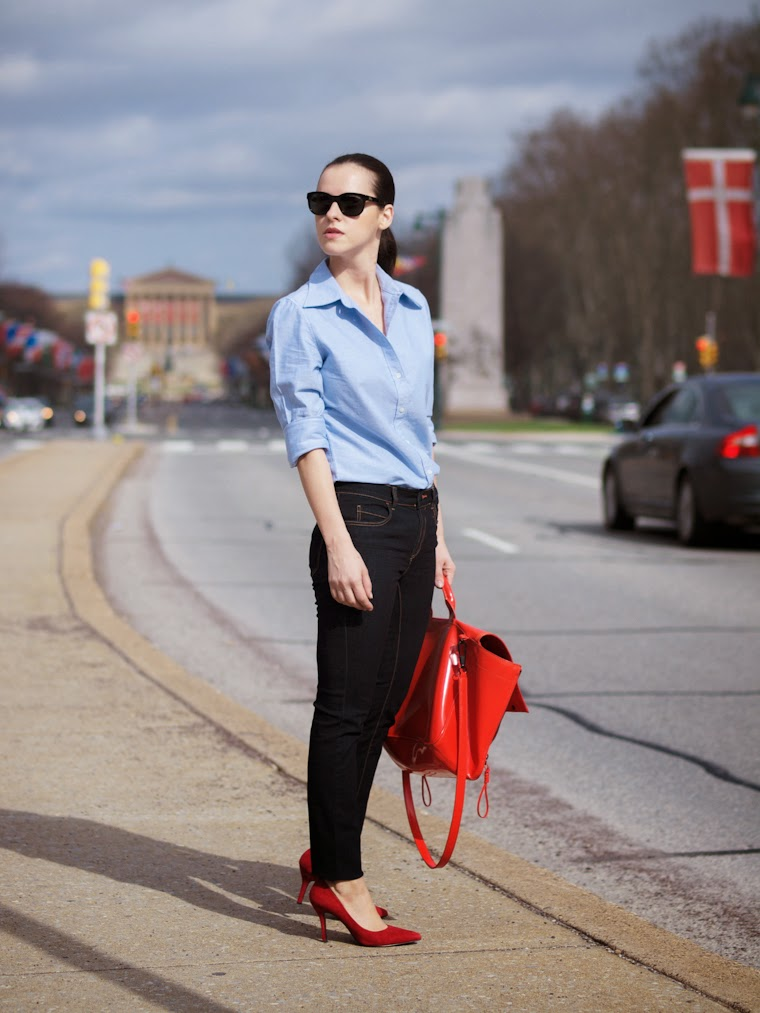 3.1 Phillip Lim, bittersweet colours, classic style, Joe fresh, navy, Nine West, Philadelphia, red pumps, Spring, street style, BLUE JEANS,