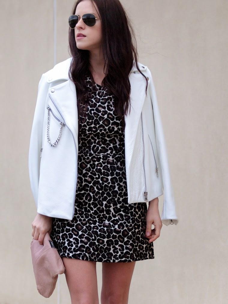 bittersweet colours, Diesel, Joe fresh, ladylike, leopard print, PINK, Spring trends, street style, white leather jacket,