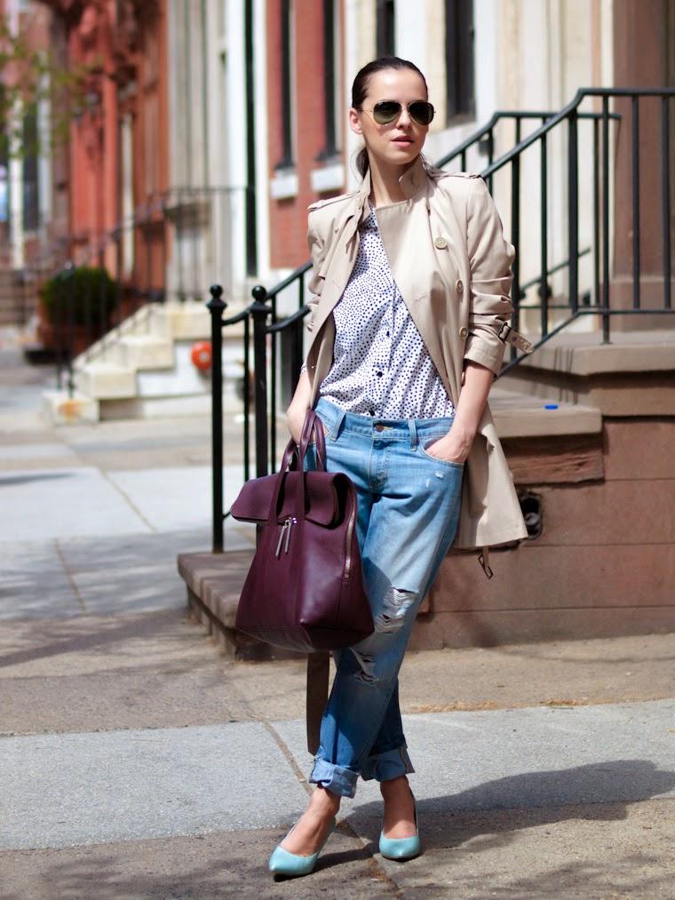 bittersweet colours, Philadelphia, street style, Spring, Trench coat, boyfriend jeans, Levis, polka dots,peter pan colar shirt, 3.1 Phillip Lim, RAY BAN, rachel roy, DKNY,