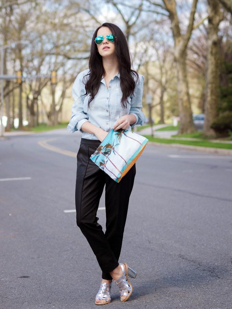bittersweet colours, denim shirt, leather pants, metallic shoes, minkpink, RAY BAN, Samudra, Spring, street style, tropical prints, volcom,