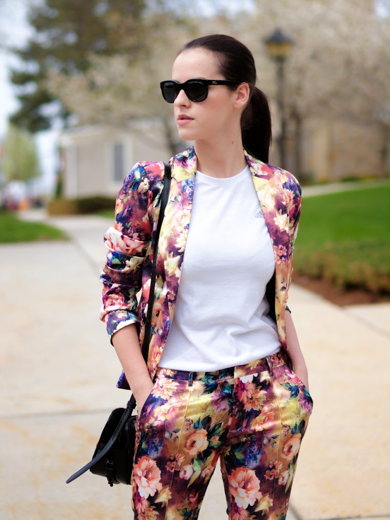3.1 Phillip Lim, adidas, bittersweet colours, burgundy color, COLORS, floral prints, floral suit, flower power, Ralph Lauren, Sam Edelman, Spring, Spring trends, street style, suit trend, white t-shirt,
