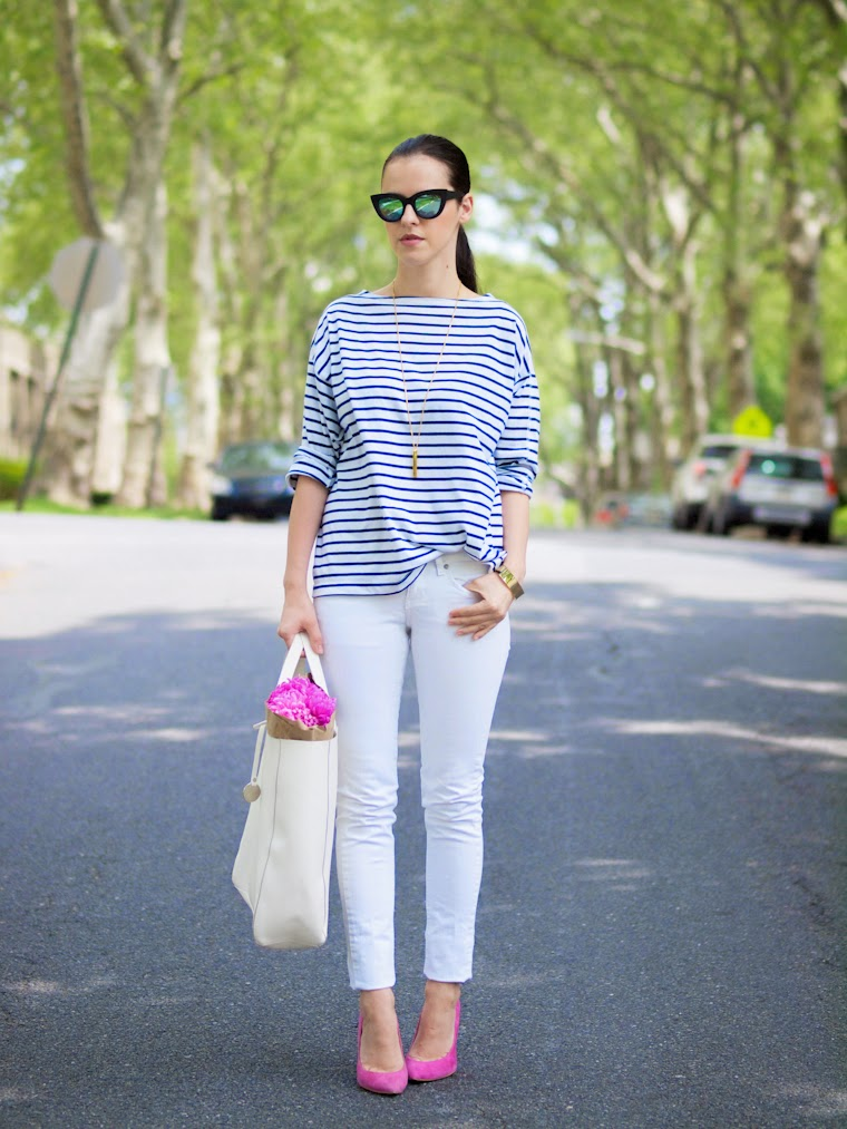 asos sunglasses, bittersweet colours, mango jeans, mirrored sunglasses, pink shoes, so pretty cara cotter jewelry, Spring, street style, stripes, Topshop shoes, white jeans, flowers,