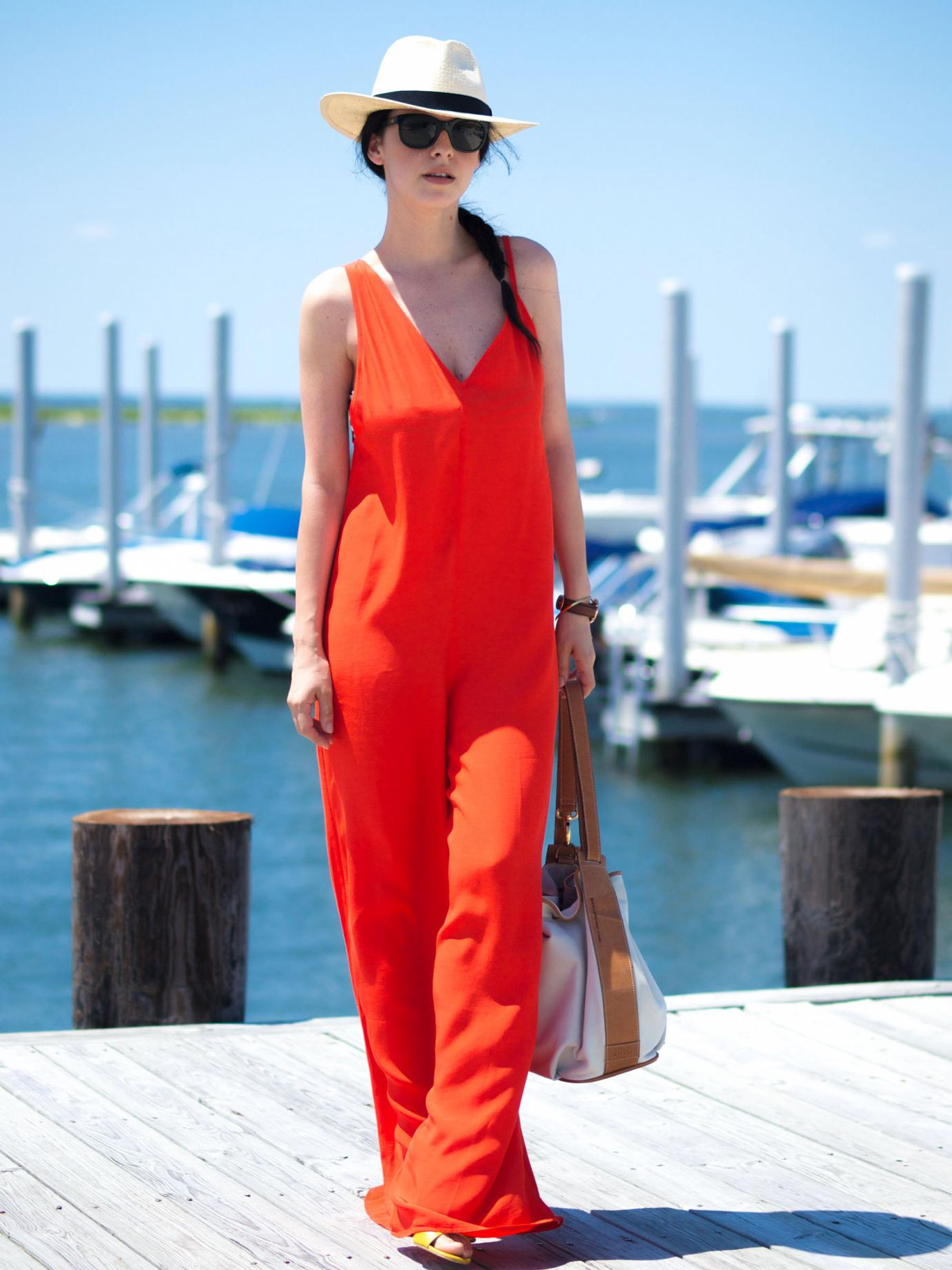 bittersweetcolours, beach day outfit, ocean, asos jumpsuit, red jumpsuit, J.Crew hat, fedora hat, bucket bag, daniel wellington watch, gorjana jewelry, tresjewellery, summer, summer trends,