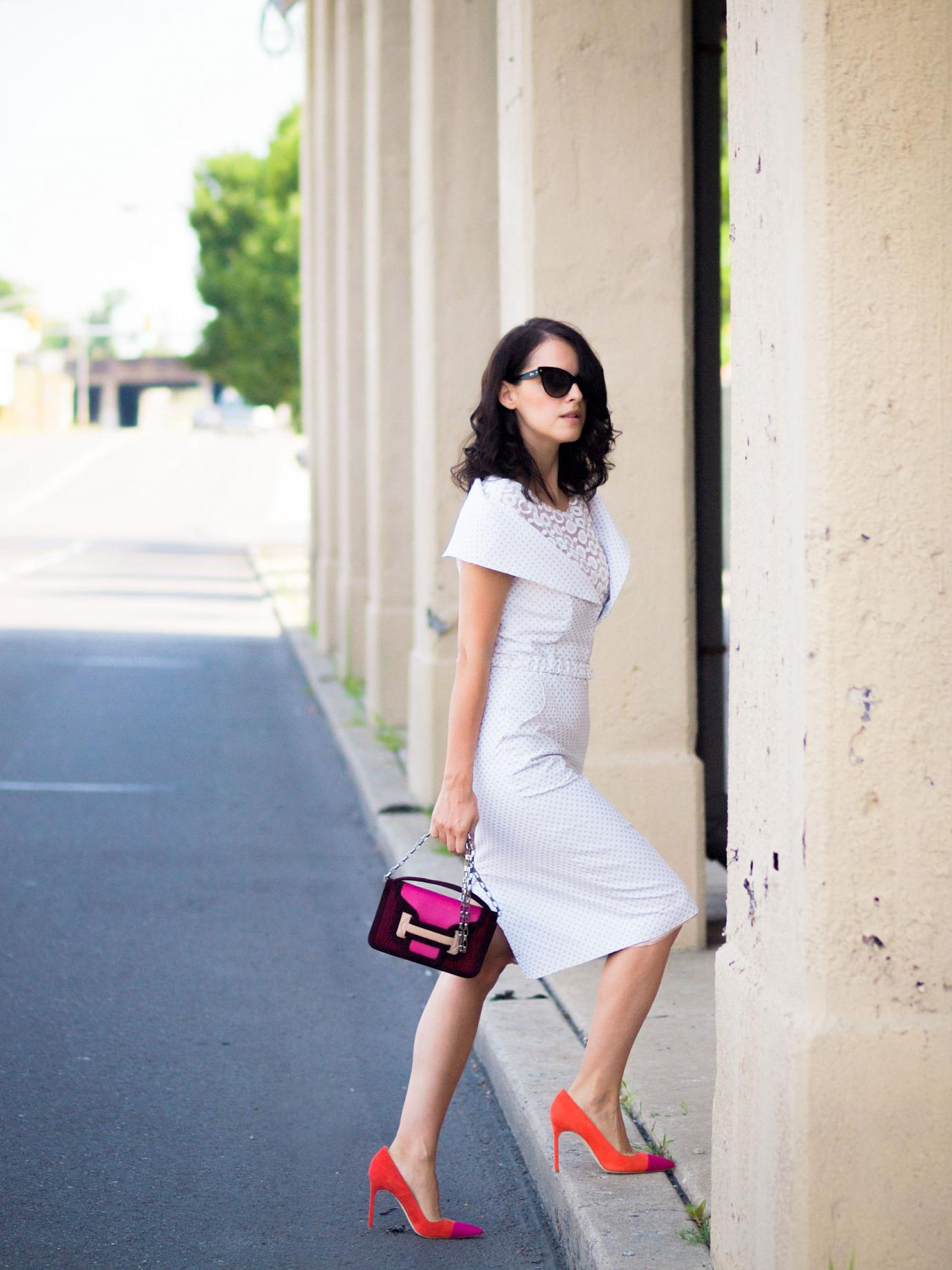 bittersweet colours, tia cibani, pierre hardy bag, manolo blahnik shoes, dior sunglasses, polka dots trend, polka dot dress, summer style, summer dress, colours, street style