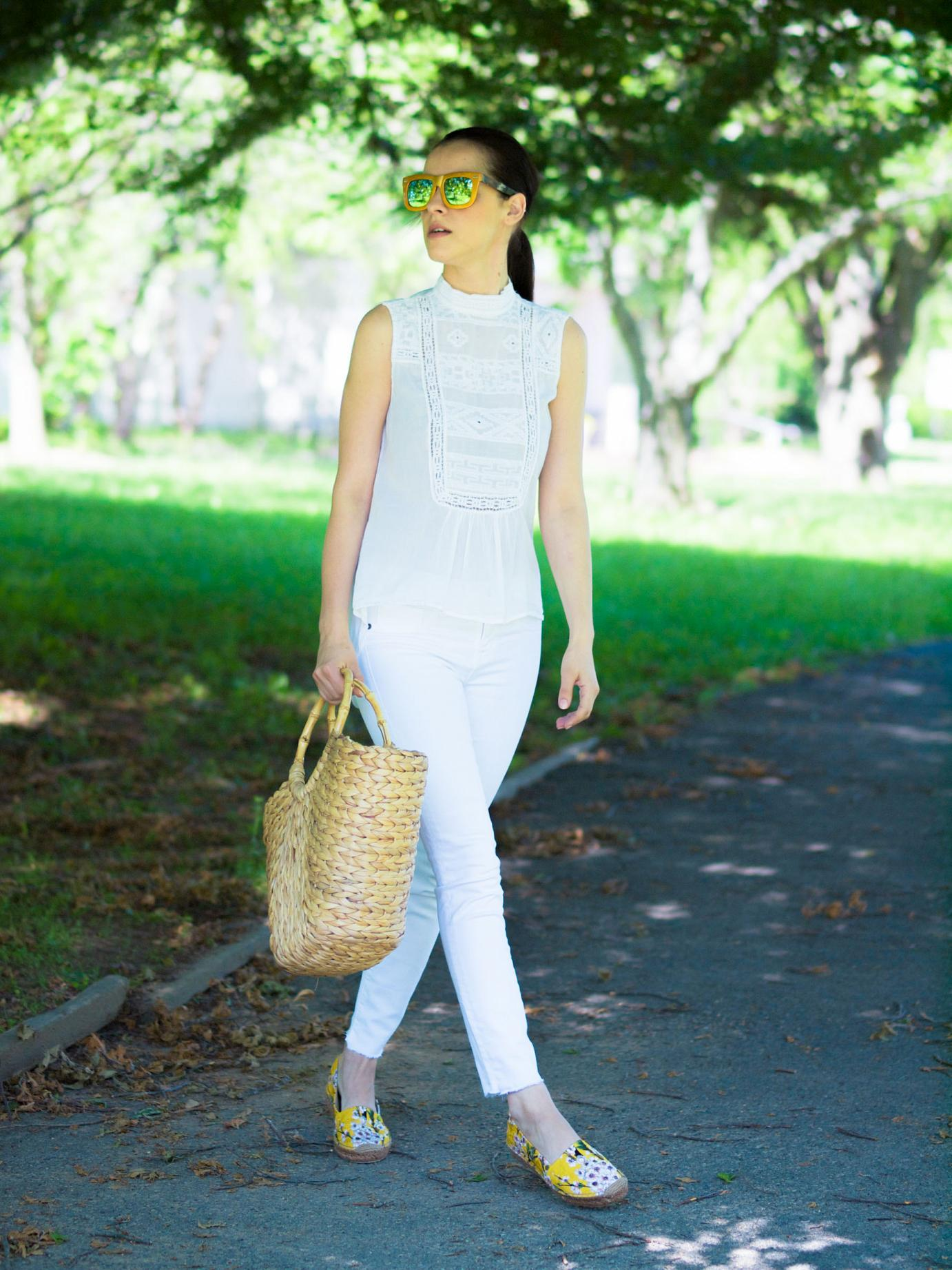 bittersweet colours, dolce & gabbana espadrilles, floral espadrilles, summer shoes, white on white, straw bag, mirrored sunglasses, silvano apparel sunglasses, summer, street style