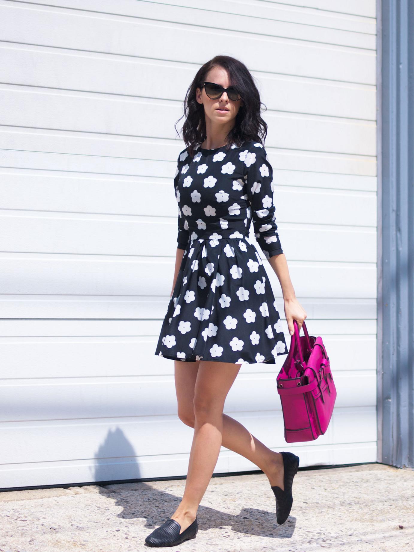 bittersweet colours, floral dress, lbd, summer dress, reed krakoff bag, pink bag, yosi samra shoes, dior sunglasses, street style,