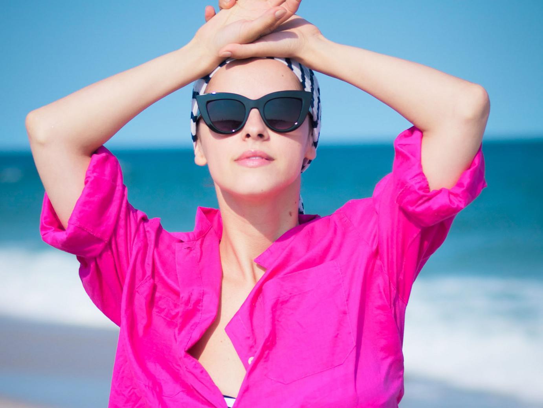 bittersweet colours, pink shirt, beach outfit, stripes , swimsuit, LBI, summer, beach,