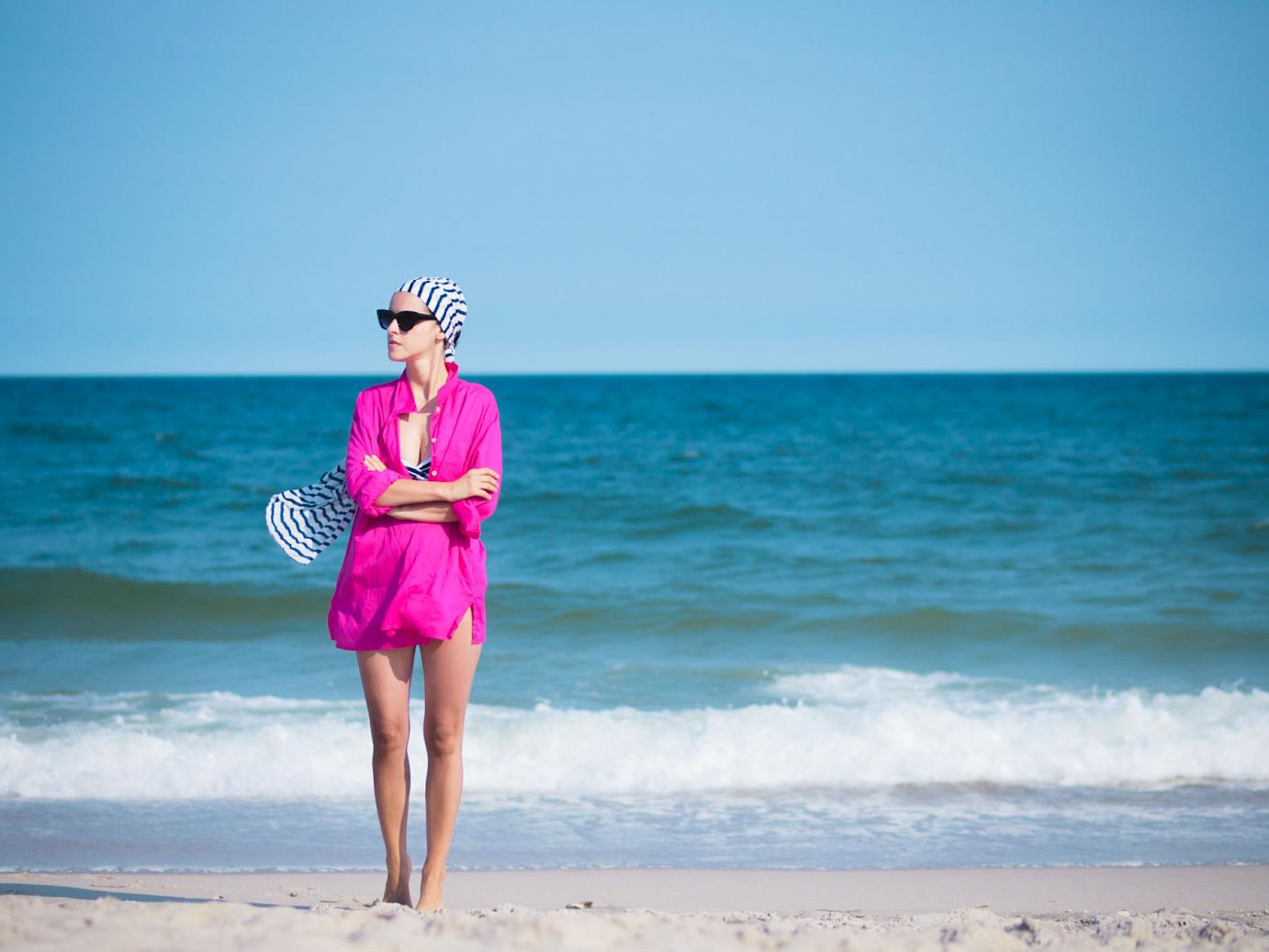 bittersweet colours, pink shirt, beach outfit, stripes , swimsuit, LBI, summer, beach,