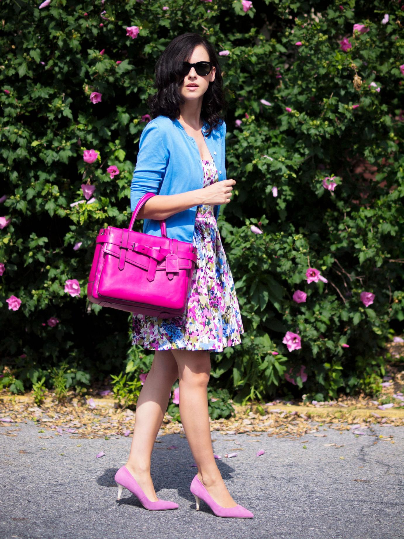 bittersweet colours, floral painted dress, j.crew cardigan, joe fresh, pink pumps, kitten heels, reed krakoff bag, summer dress, street style