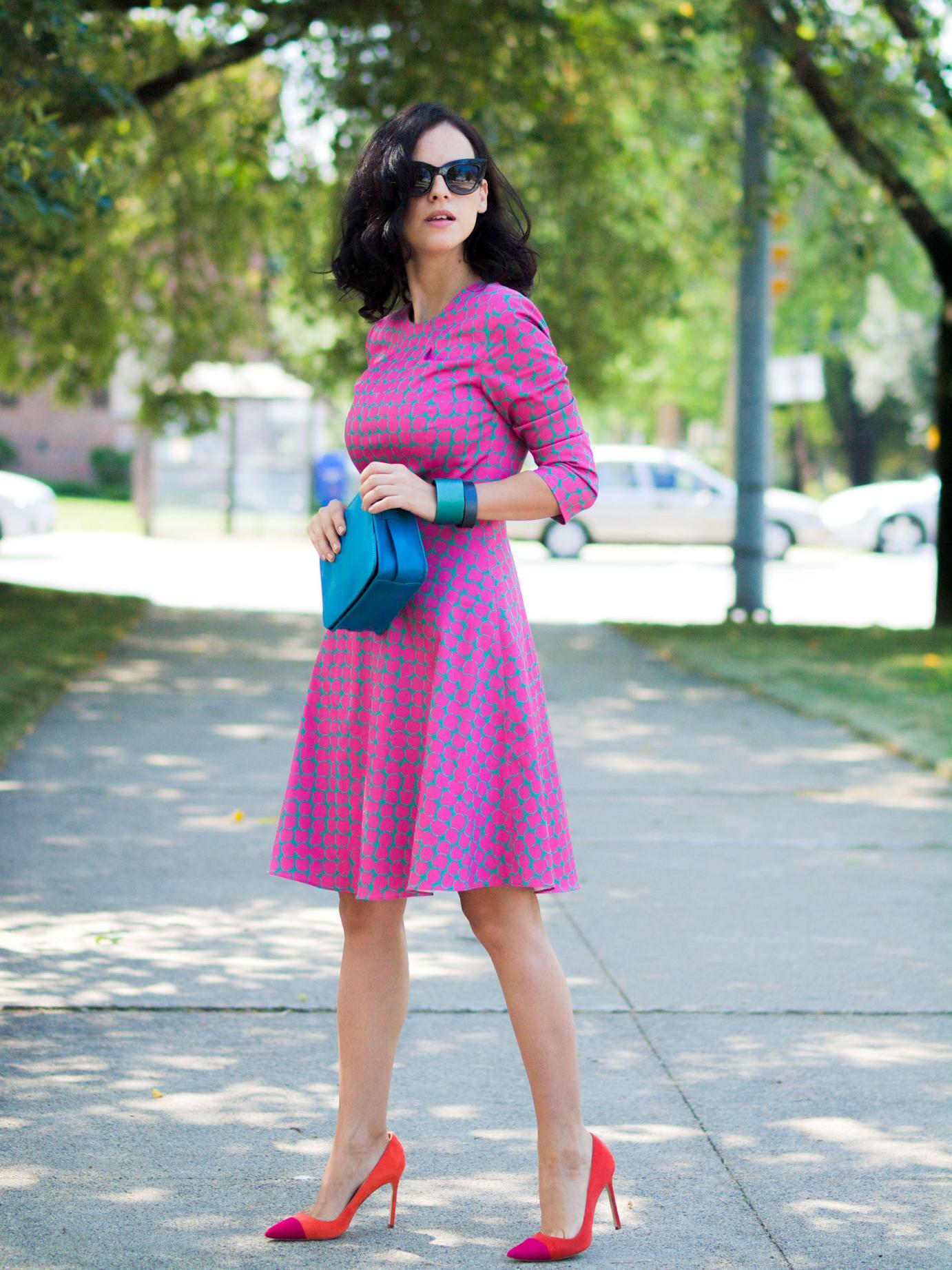 bittersweet colours, giveaway, pink dress, piol dress, cooee jewelry, asos sunglasses, manolo blahnik, printed dress, street style, feminine style, colors