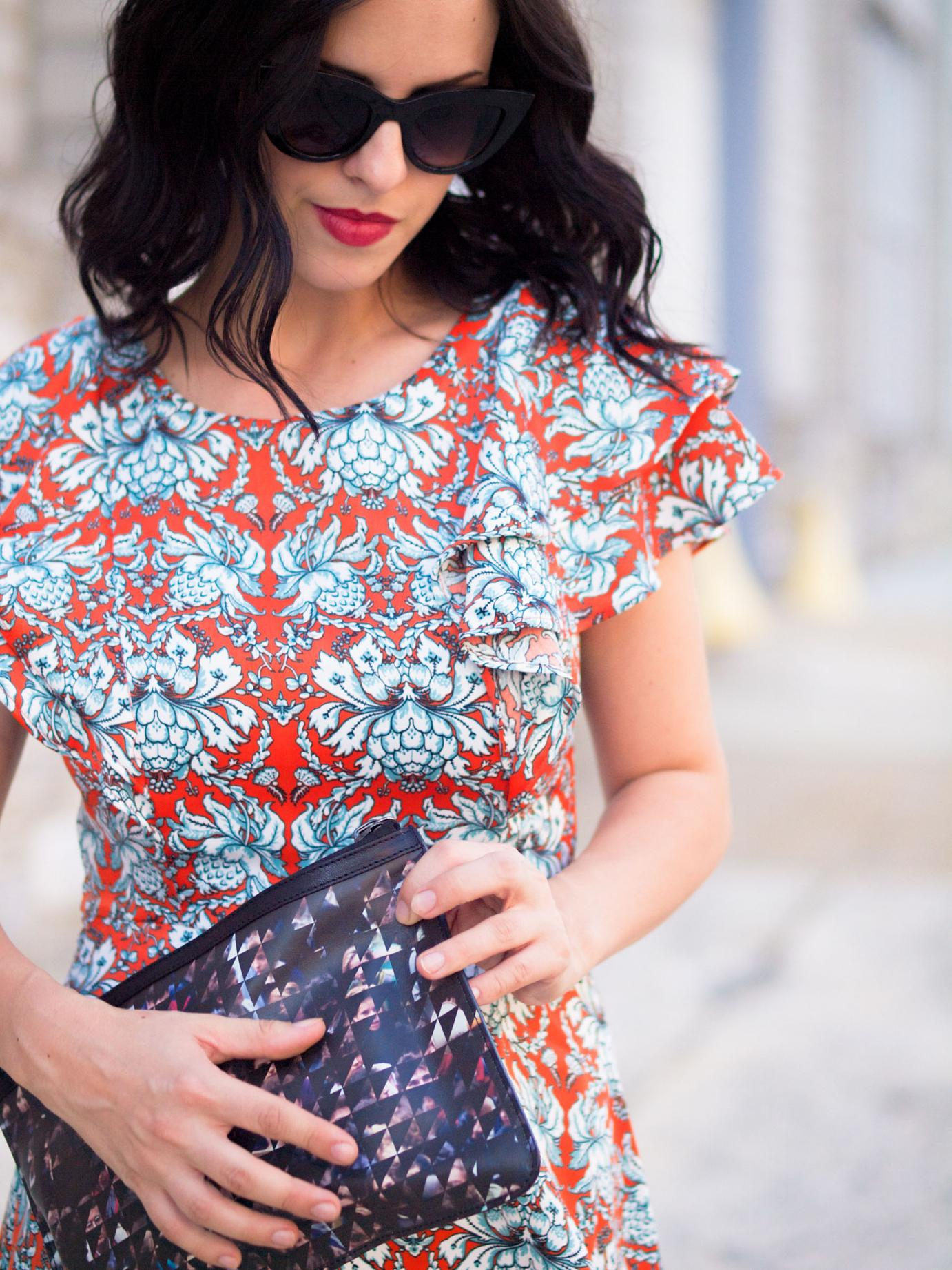 bittersweet colours, ruffles trend, printed dress, colors, prada sandals, asos sunglasses, proenza schouler, shabby apple, street style, summer dress,