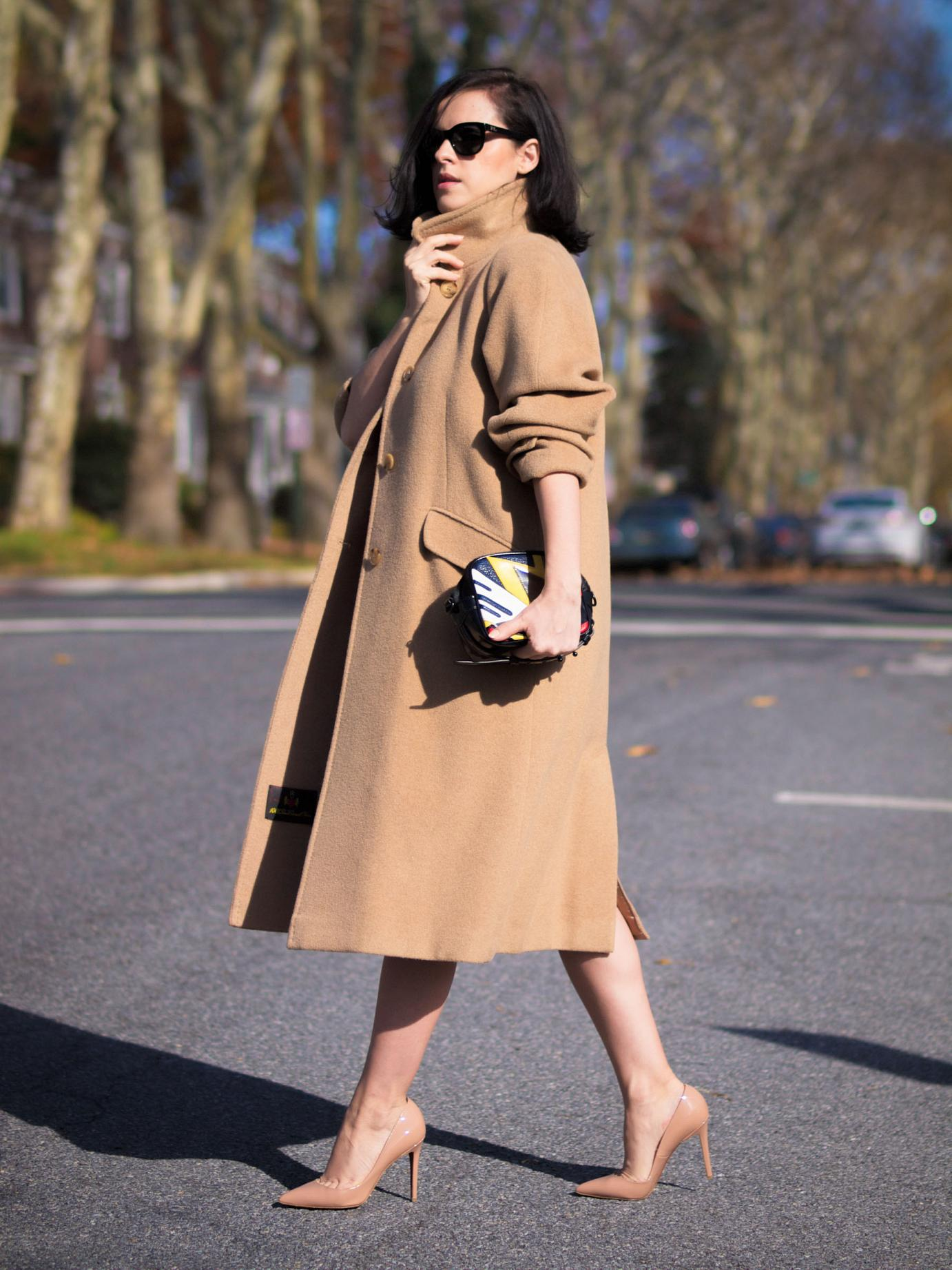bittersweet colours, fall, fall coats, fall colors, fall street style, christian louboutin shoes, vintage dress, vintage coat, red dress, camel coat, cashmere coat, 3.1 phillip lim bag, maternity style, bumb style, 21 weeks,