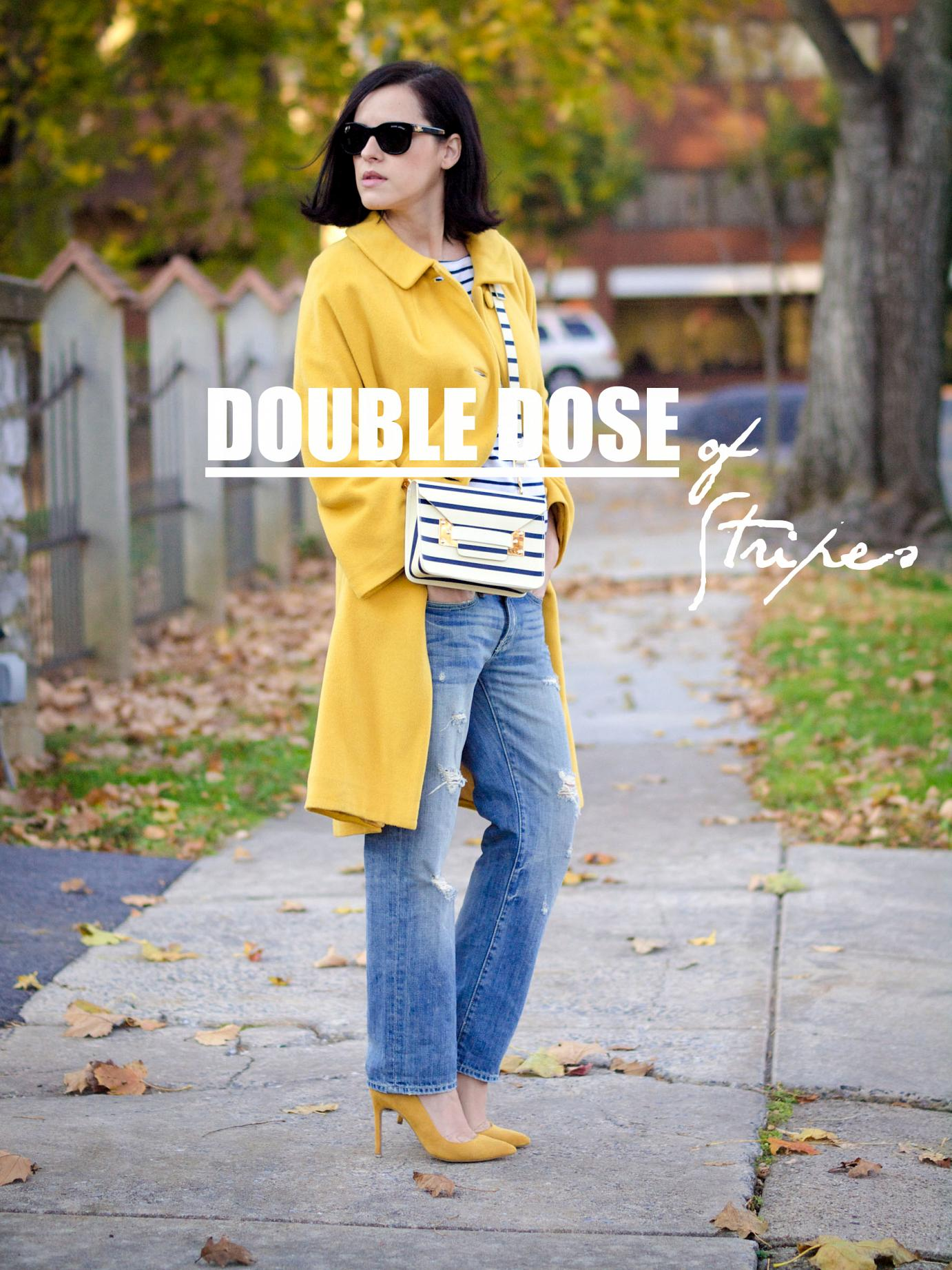 bittersweet colours, fall coats, yellow coat, sophie hulme bag, stripes, boyfriend jeans, yellow shoes, maternity style, 22 weeks, bumb style, fall street style, street style,
