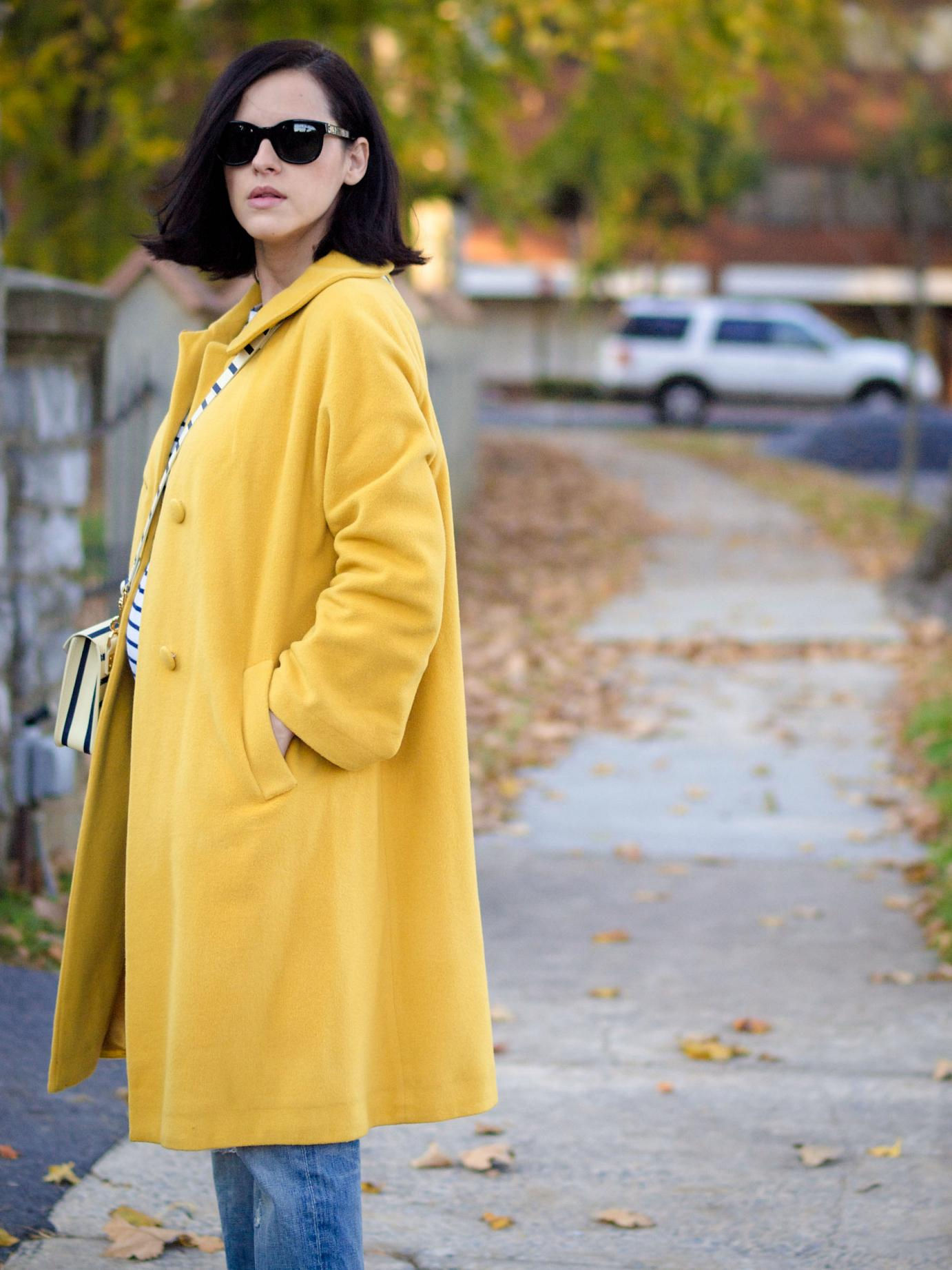 bittersweet colours, fall coats, yellow coat, sophie hulme bag, stripes, boyfriend jeans, yellow shoes, maternity style, 22 weeks, bump style, fall street style, street style,