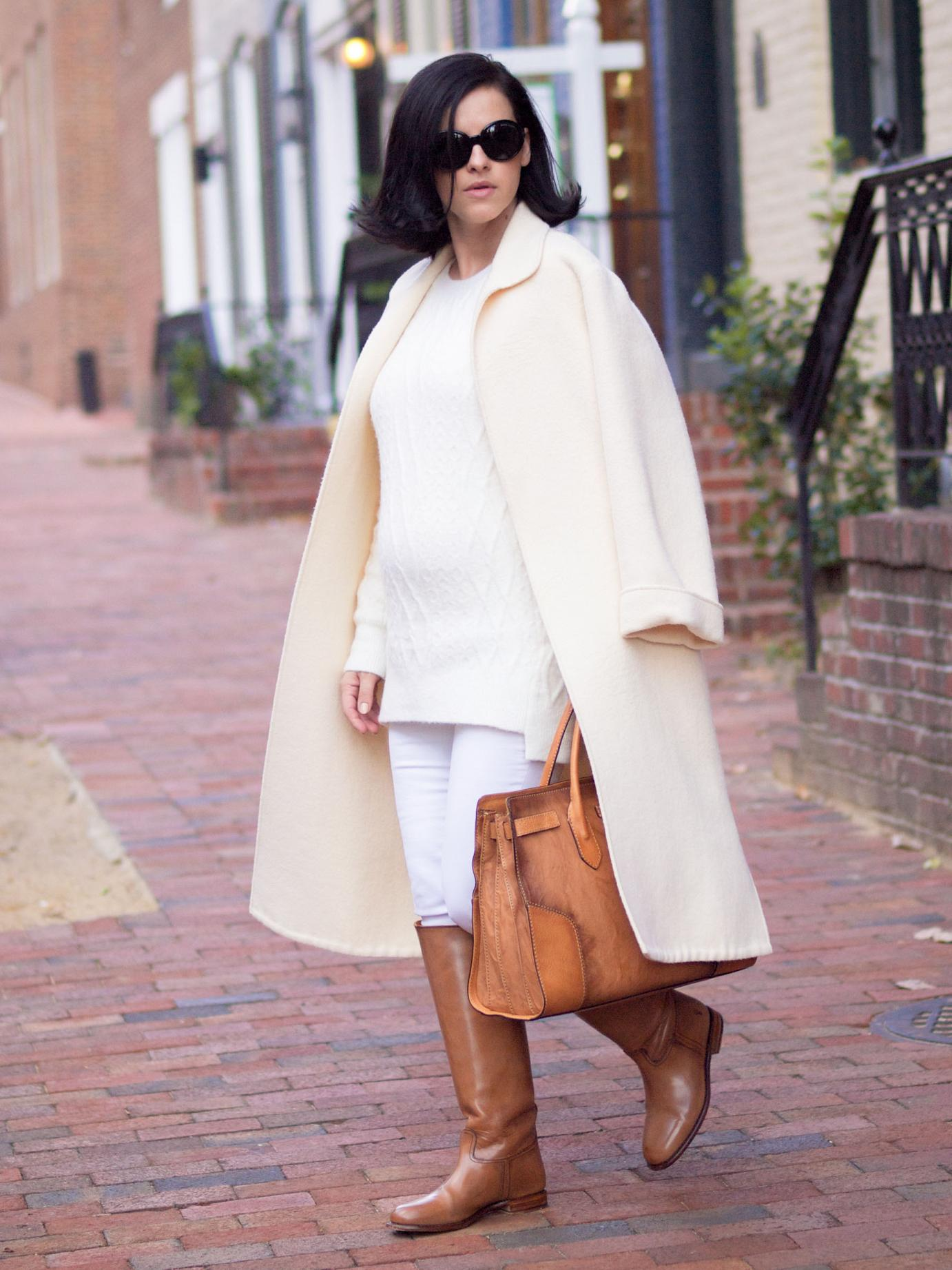 bittersweet colours, white coat winter, winter white, camel boots, frye boots, Philadelphia, fall street style, street style, white on white trend, valentino coat, maternity style, 23 weeks, white and camel, sweater weather,