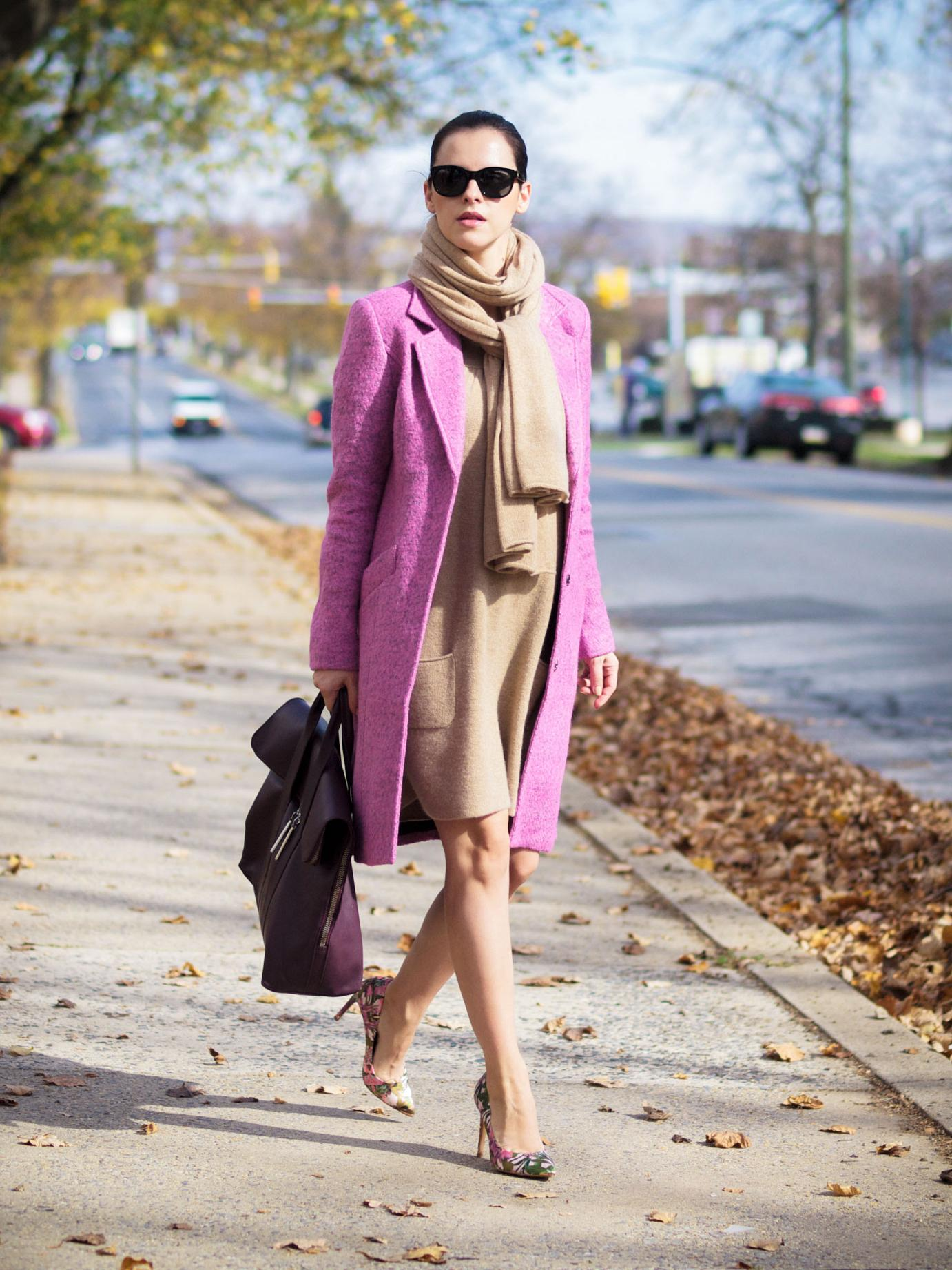 bittersweet colours, maternity style, bumb style, 21 weeks, fall street style, street style, fall trends, pink coat, gestuz coat, 3.1 phillip lim bag, ted baker, floral print pumps, cashmere dress, camel dress, sweater dress, camel scarf, cashmere scarf, pink trend,