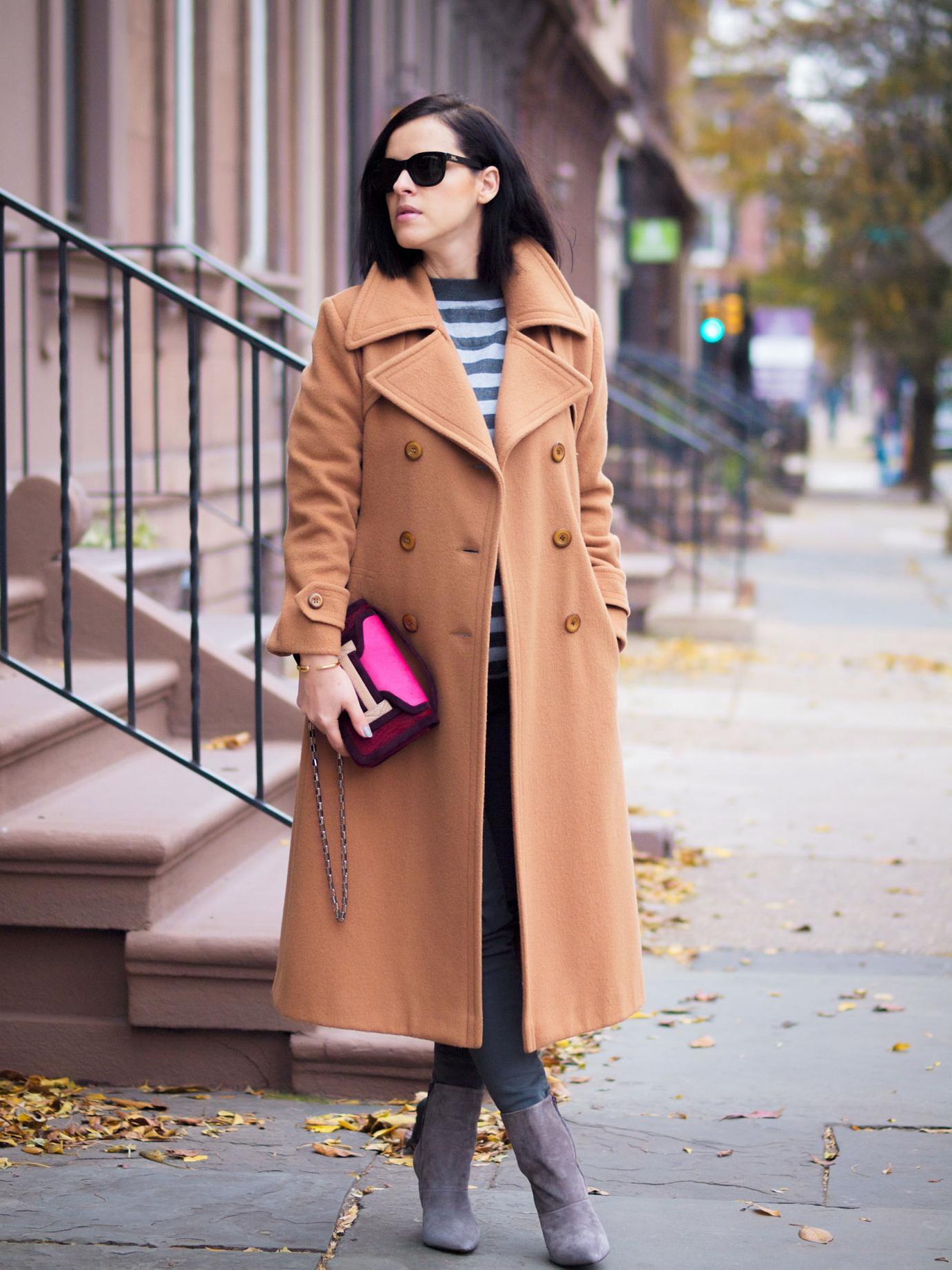 bittersweet colours, street style, fall coats, camel coat, camel and grey mix, pierre hardy bag, levis jeans, brandy pham jewelry, maternity style, baby bump, 25 weeks, sweater weather,