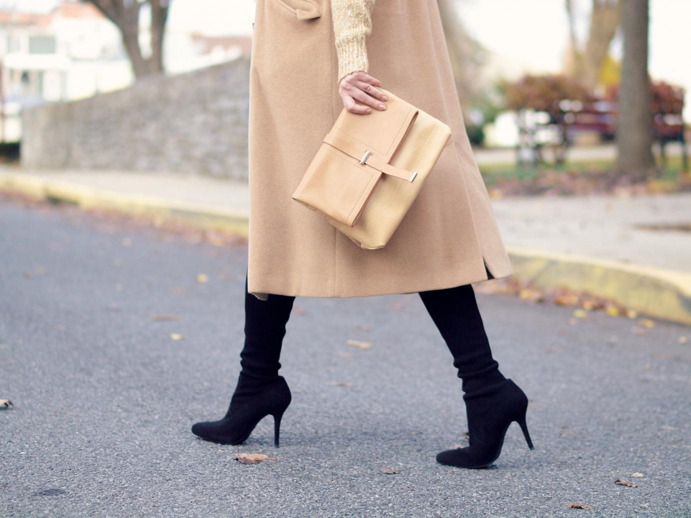 bittersweet colours, fall street style, camel coat, sweater dress, stuart weitzman boots, suede boots,  neutrals, street style, maternity style, 25 weeks, monochrome,