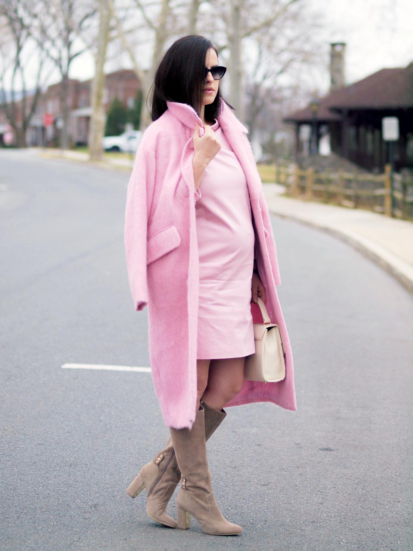 bittersweet colours, pink coat,  asos coat, pink dress, piol dress, anne klein boots, suede boots, fall street style, street style, maternity style, 26 weeks, monochrome look, pastels, powdery pink, fuzzy coat,