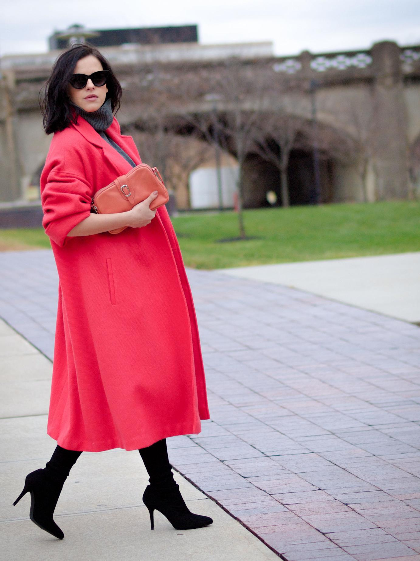 bittersweet colours, fall street style, street style, coral coat, colorful coats, jumper dress, grey dress, stuart weitzman boots, suede boots, eye cat sunglasses, melanie auld jewelry, lancaster paris bag, maternity style, 27 weeks,
