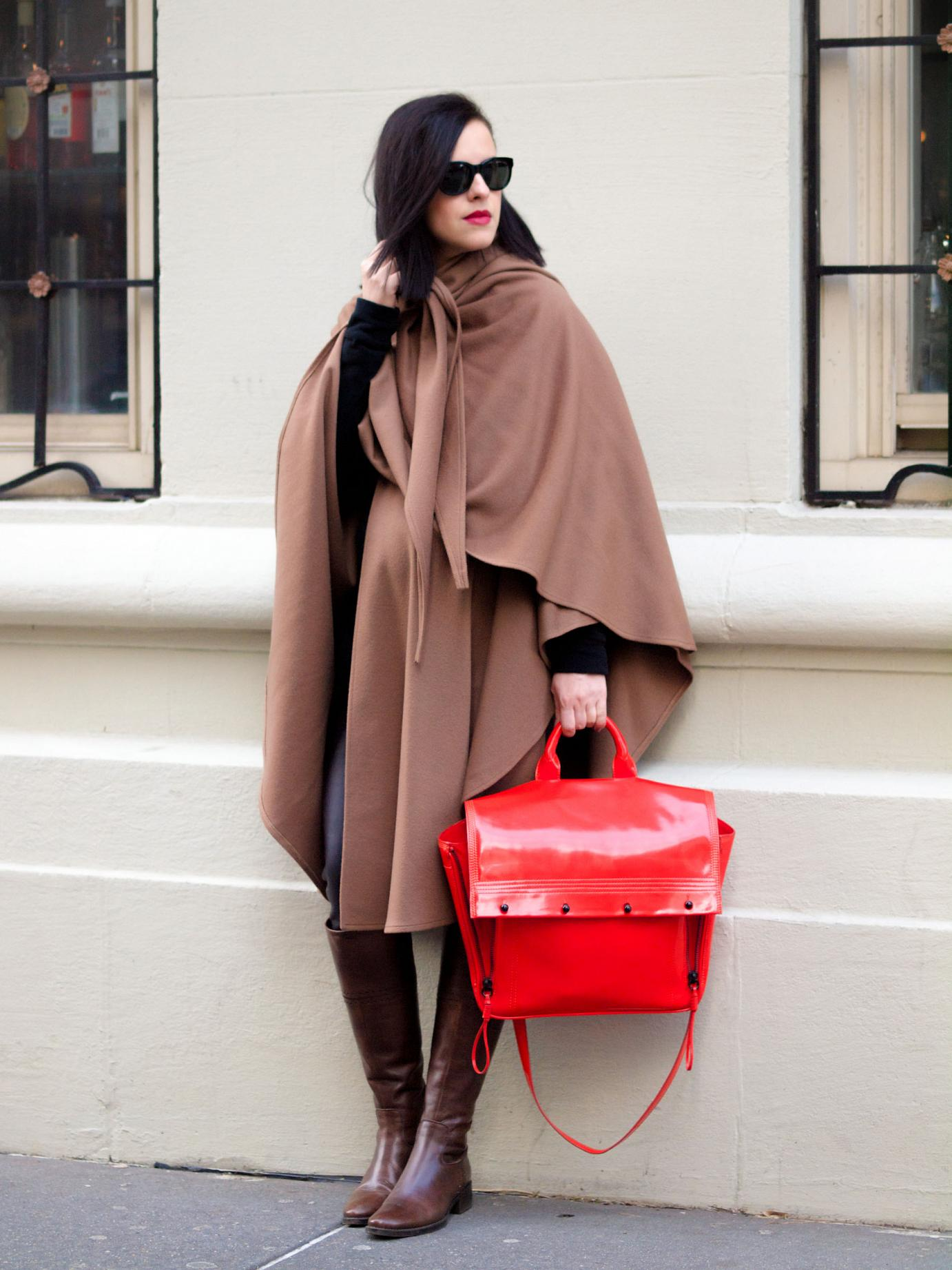 bittersweet colours, street style, winter coats, cape, benetton boots, 3.1 phillip lim bag, winter street style, maternity style, 27 weeks, New York, leather leggings, camel cape