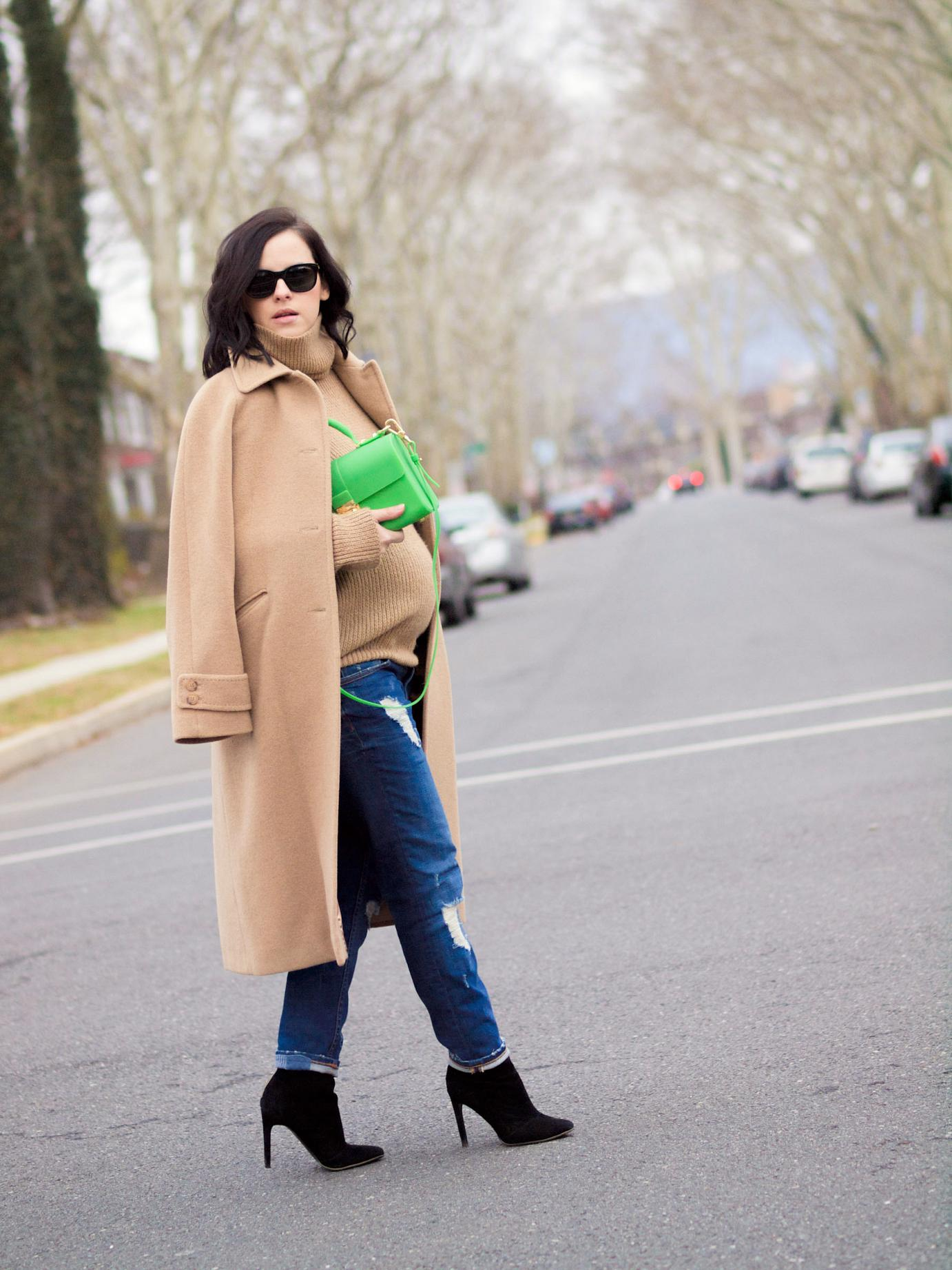 bittersweet colours, street style, camel coat, cashmere coat, boyfriend jeans, mango boots, calypso st barth, sweater weather, maternity style, 29 weeks,  winter style,