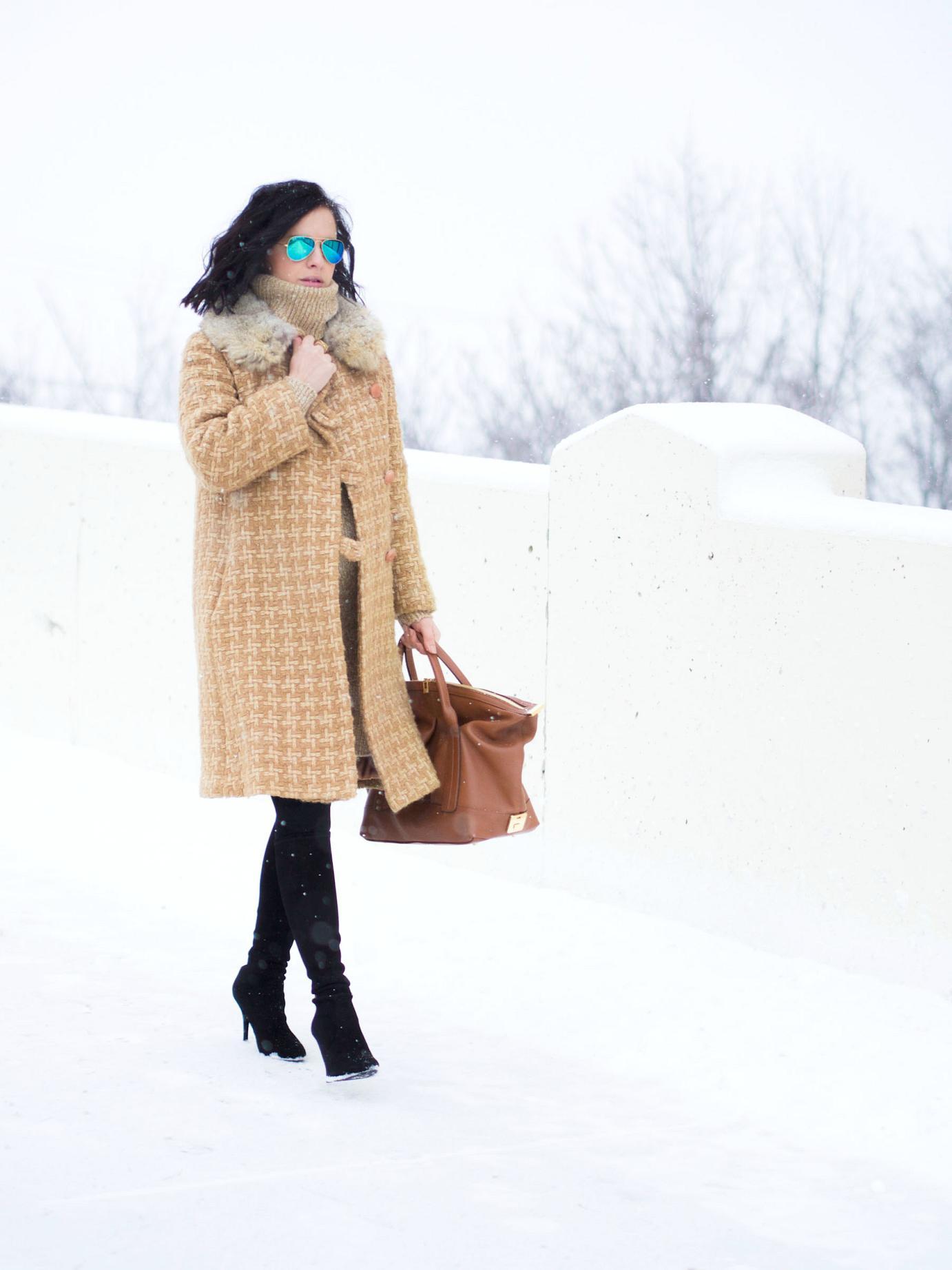 bittersweet colours, street style, winter coats, winter street style, sweater dress, stuart weitzman boots, Joanna Maxham Bag, winter style, monochrome look, maternity style, 30 weeks,