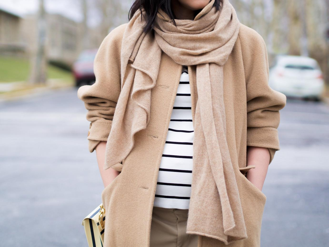 bittersweet colours, camel coat, camel and stripes, pink heels, sophie hulme bag, street style, winter trends, striped bag, neutral trend, maternity style, 32 weeks