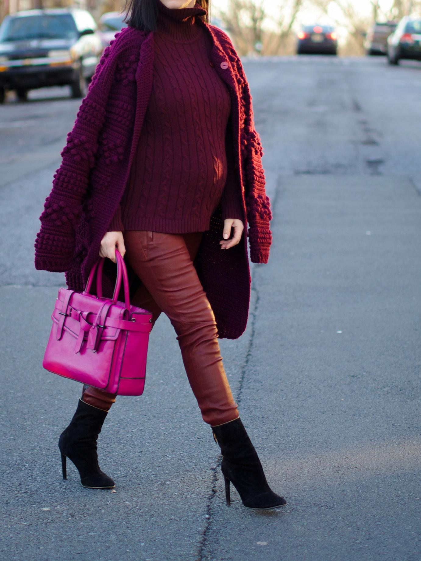 bittersweet colours, street style, winter trends, burgundy cardigan, vintage, burgundy color, monochrome look, reed krakoff bag, A.L.C pants, leather pants, maternity style, 30 weeks